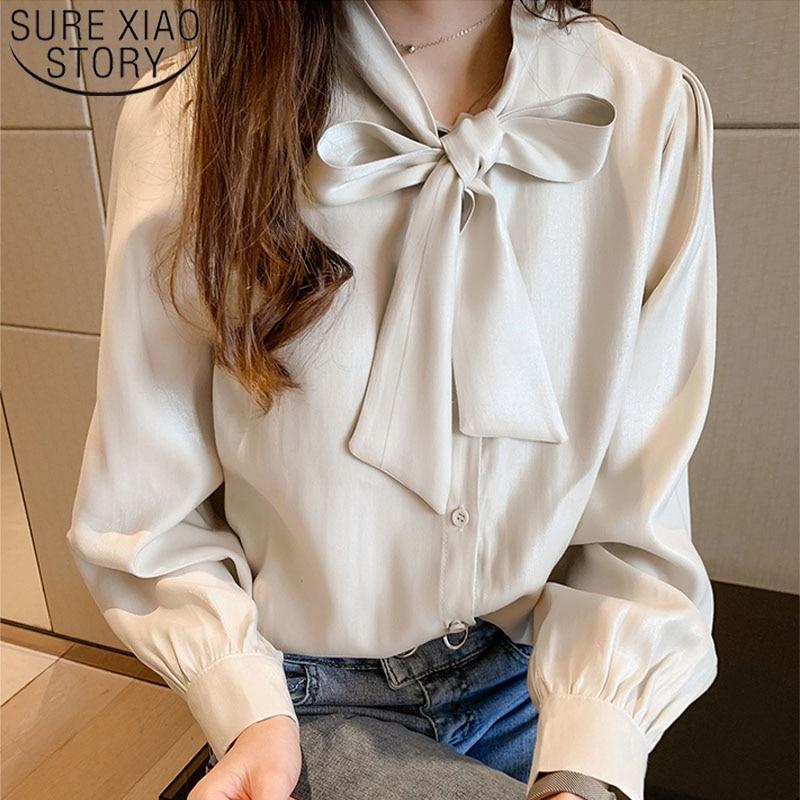 2020 корейская модная одежда, шифоновые блузки с пуговицами и бантом, женские топы, OL, рукав-фонарик, большие размеры, топы, блузы, рубашки, 7932 50