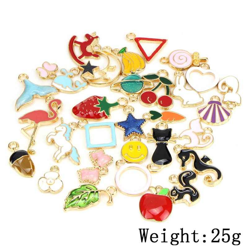 30PCS/set Animals Fruit Cat  Leaf Butterfly Shell Unicorn Moon Mixed Enamel Beads Pendants Charms Craft DIY Jewelry Findings