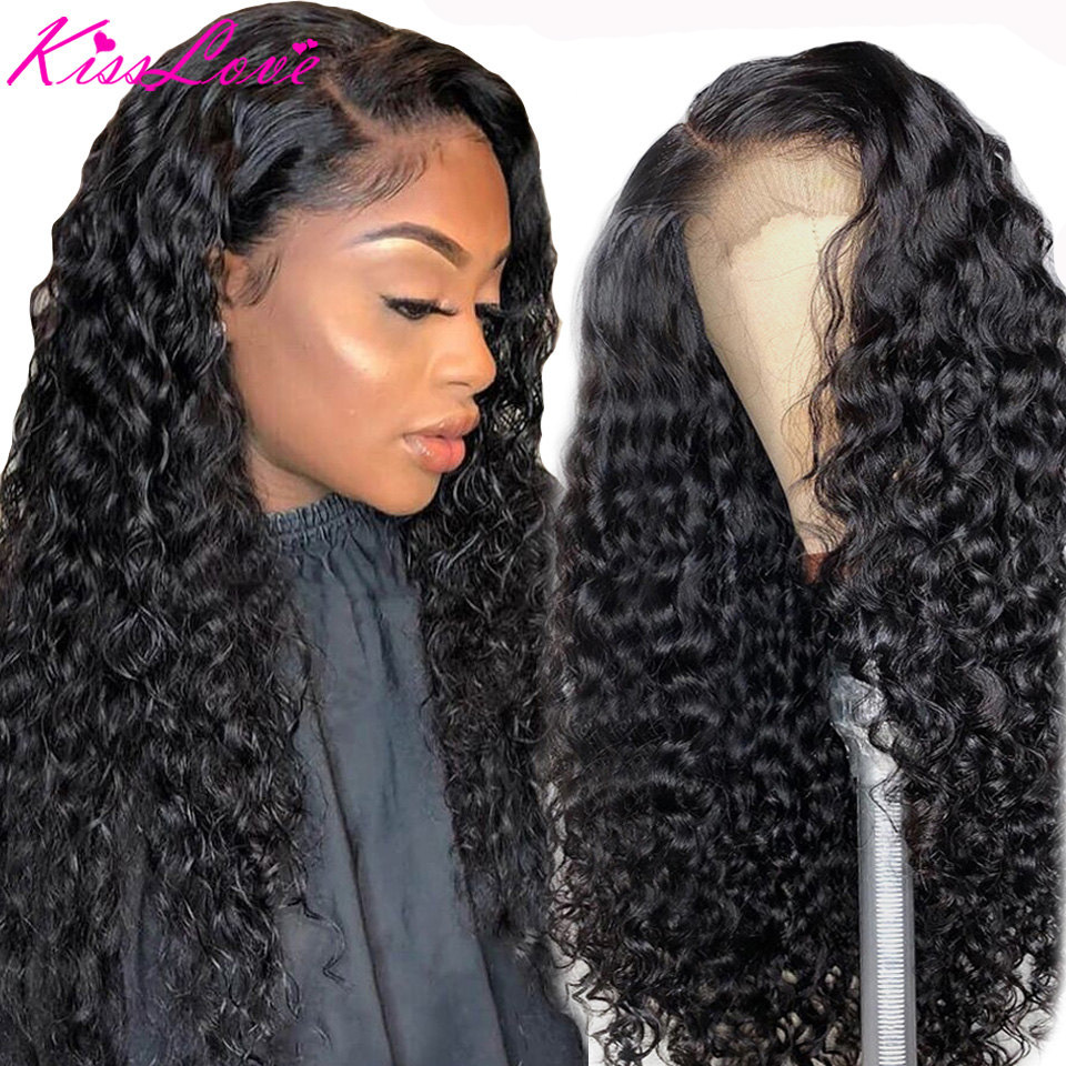 KissLove Deep Wave 13x6 13x4 Lace Front Human Hair Wigs for Black Women Prepluck Glueless Brazilian Curly 5X5HD Lace Closure Wig 1