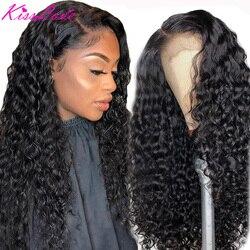 Kisslove onda profunda 13x6 13x4 frente do laço perucas de cabelo humano para preto feminino prepluck glueless brasileiro encaracolado peruca de fechamento do laço 5x5hd