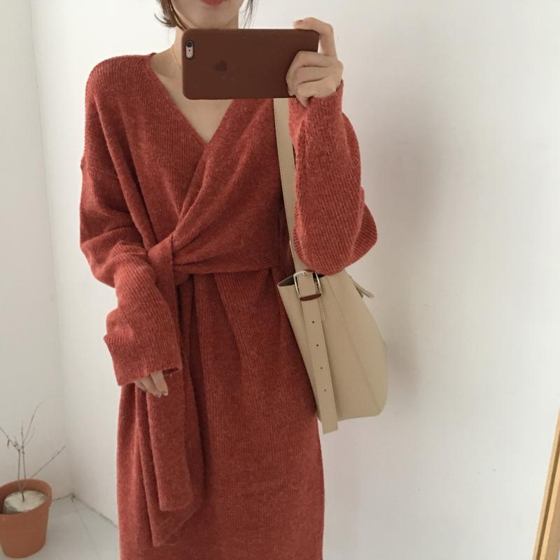 Hba41119862e840b0a48b9a93098ccb7bd - Winter Korean V-Neck Long Sleeves Knitted Dress