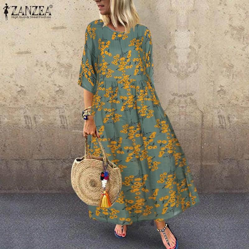 2020 Autumn Half Sleeve Vintage Floral Printed Dress ZANZEA Women Sundress Casual Bohemian Cotton Linen Vestido Robe Femme Dress