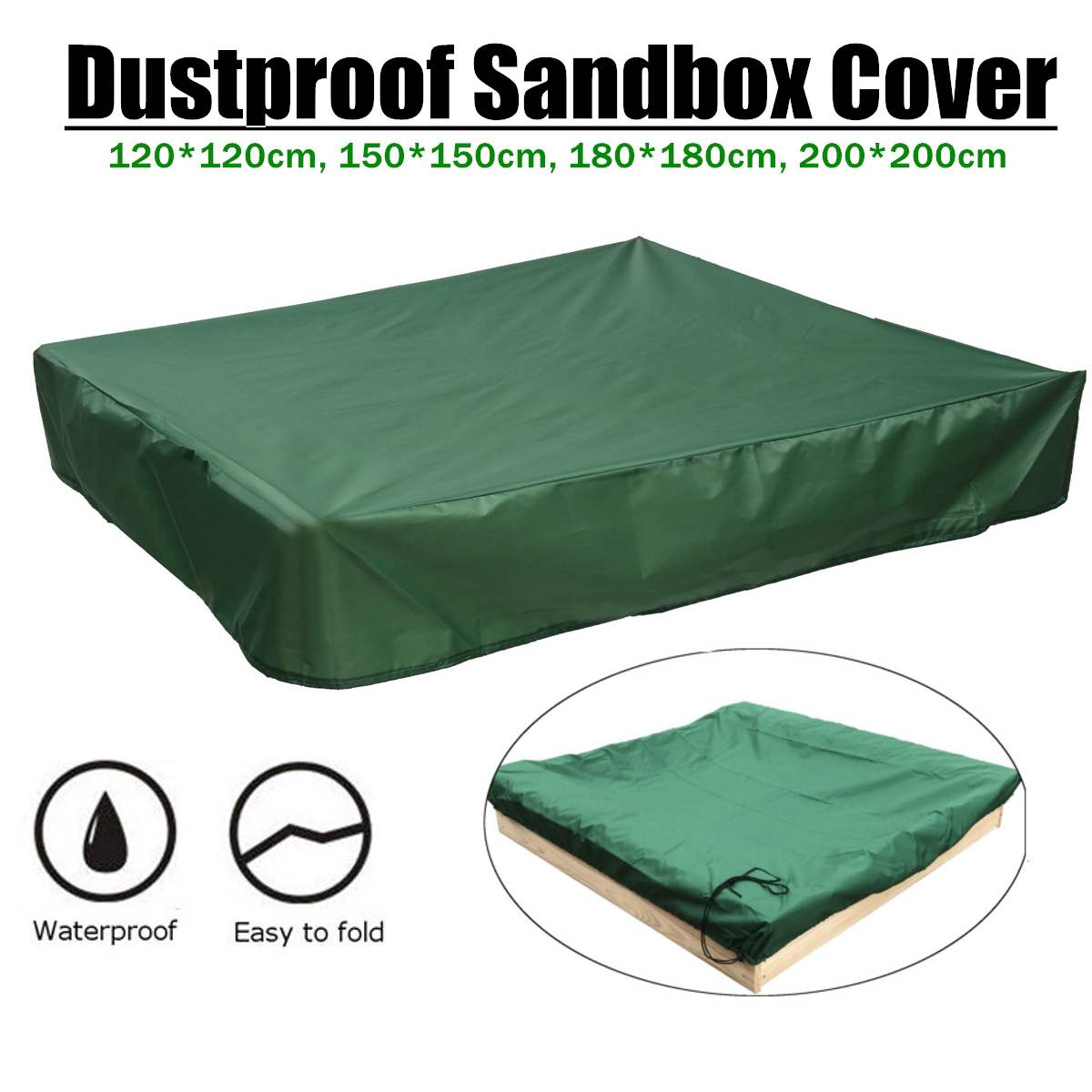 120/150/180/200cm Waterproof Oxford Dust Cover Square Drawstring Sandbox Sandpit Dustproof Cover Canopy Shelter Cloth Green