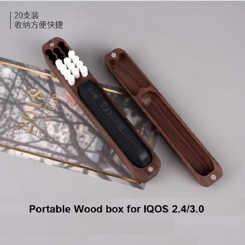 Fashion portable Wooden box for IQOS 2.4 sticker vape pen compatible for IQOS 3.0 elctronic cigarette Holder Case for iqos stick