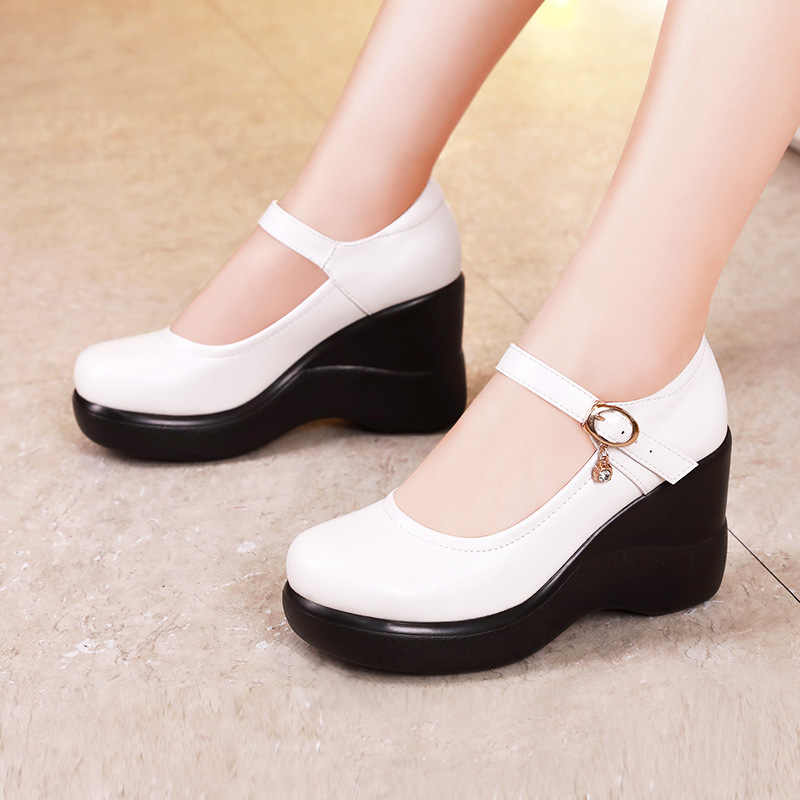 Plus Size 32-43 Wedges Shoes for Women Spring Fall 2019 High Heels Pumps Ladies Office Work Shoes Mother Shoe