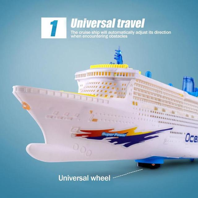 Simulation ship model children's light music cruise ship ship universal electric toy F7D0 5