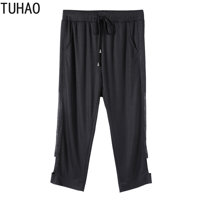 TUHAO 10XL 8XL 6XL 4XL Women Black Capris Pants 2020 Plus Size Women's Trousers Women Summer Trouser Pant for Mother Mom WM61