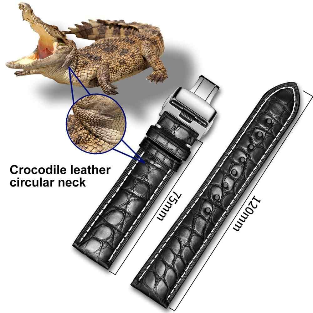 תנין רצועת השעון 18mm 19mm 20mm 21mm 22mm 23mm 24mm להקת שעון עור תנין שעון רצועה עם פרפר אבזם