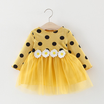 Girl's Polka Dot Dress with Daisy Appliques 3