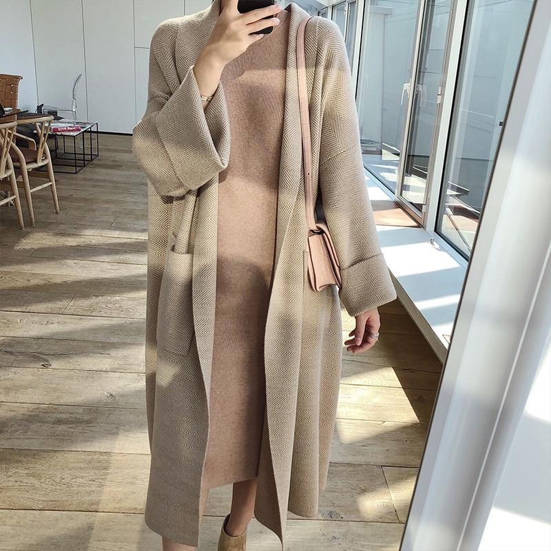 Leiouna Loose Woolen Casual V-Neck Striped Cardigans Elegant Coats Knit Sweater Oversize Coat Fashion  Knitting Winter Women