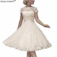 Vestidos de Novia Lace Plus Size Pretty Garden Scoop Knee Length Lace Short Wedding Dresses