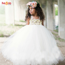 Flower Tutu Dress For Girls With Pearl Design Fashion Lace Tulle Ball Gown Kids Girl Wedding Pageant Party Fancy Clothes Vestido недорого