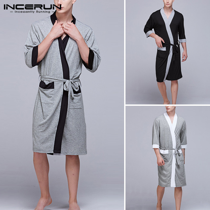 Men Nightgown Men Half Sleeve Robes Leisure Black Sleepwear Pockets Patchwork Bathrobe Summer Soft Homewear Plus Size INCERUN