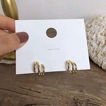 2020 Trendy Metal Hoop Earring For Woman Vintage Triple Open Circle C Shaped korean Statement Earrings Accessories brincos 1