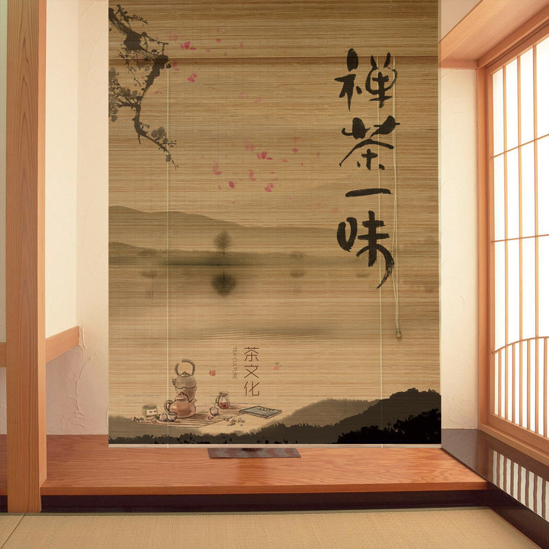 Printed bamboo roller curtain with no holes, shade roller, decorative partition door curtain of tea house, hand pull type