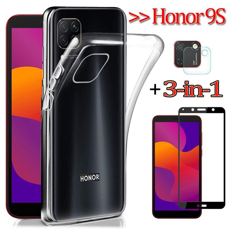 Pour Honor 9S, Coque en TPU + Caméra Verre Honor 9S Huawei Y5P coques de téléphone en silicone transparent housse etui DUA-LX9 5.45'' protection ecran Huawei Y5-P glass case Honor-9 S Huawei Honor9S