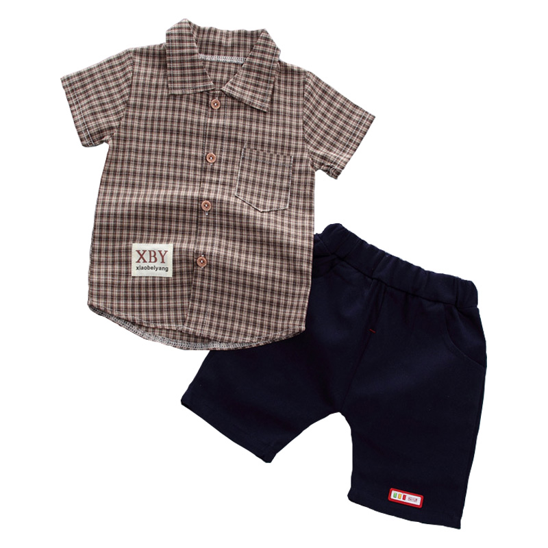 Baby Clothing Set Boys Clothes Plaid Shirt Summer Tops + Shorts Casual Wear  Infant Boy 6M-3T