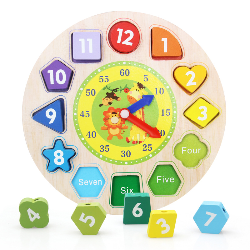 Wooden Toys Clock Toys Learning Calendar Game Children\'S Cognitive Geometry Paired Toy Baby Early Childhood Clock