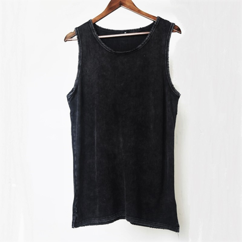 Distressed Black Cotton   Tank     Tops