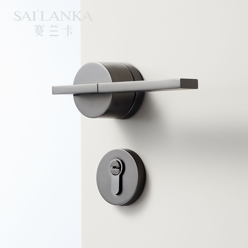 Sai'lanka Magnetic Optional Mute Light Luxury Grey Leather Door Lever Modern Interior Bedroom Bathroom Wood Door Lock Set