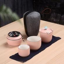 Travel Tea Set 6 Pieces Ceramic Outdoor Portable Bag Chinese KungFu Teaware Sets Gaiwan Teacup set Drinkware Cup Free shipping