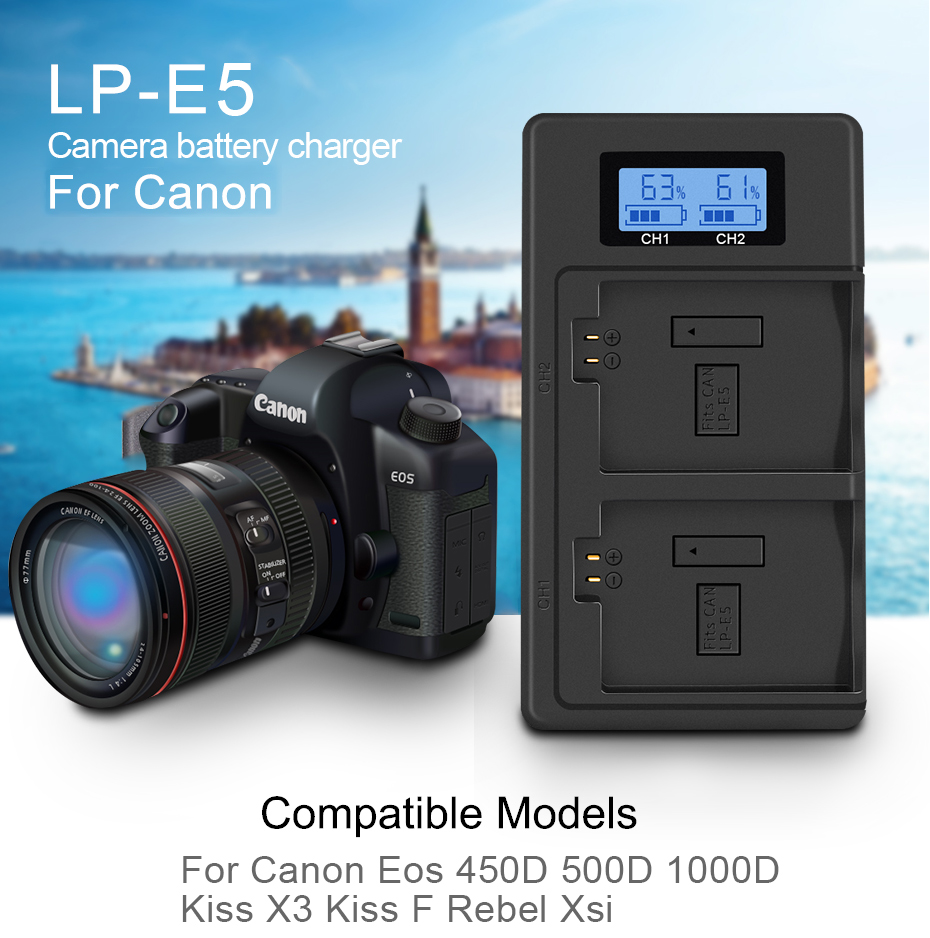 PALO LPE5 LP-E5 LP E5 Battery Charger LCD dual slot USB Charger for Canon EOS 450D 500D 1000D Kiss X3 Kiss F Rebel Xsi Camera image