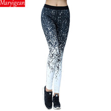 Maryigean Printed Slim Fitness Leggings Women Compression Push Up Leggins Clothing Workout Printing Patchwork Trousers 2019