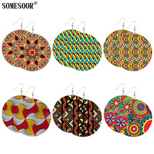 SOMESOOR Jewelry Mixed 6 Package Wholesale Sale African Fabric Print Double Sides Printing Drop Earrings For Women Gifts