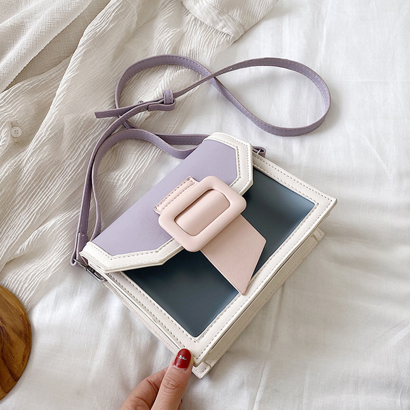 Contrast Color PU Leather Crossbody Bag For Women 2020 Cute Lady Small Shoulder Messenger Bag Transparent Tote Purse Travel bags