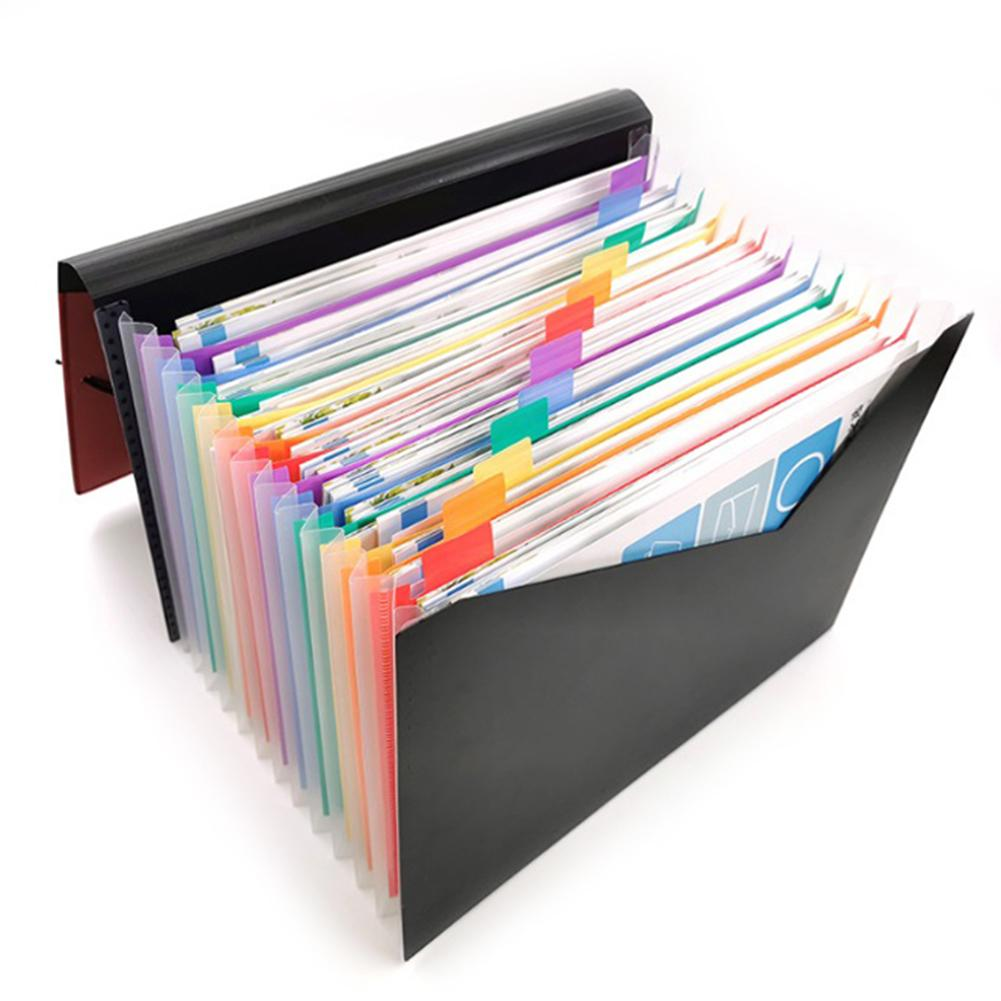 Multi-color File Folder 13 Pockets Document Organizer Accordion A4 Size Expanding Wallet Stand For Business Office Study Home