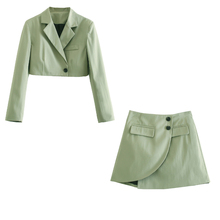 2021 New Women 2 piece set suit Cropped Blazer and Mini Skirt Elegant High Fashion Chic Lady Woman two piece blazer skirt set