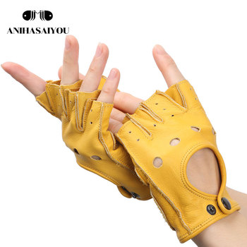 Vintage men's gloves yellow fingerless gloves,wear-resistant driving gloves,leather tactical gloves,motorcycle gloves-NP03 фото