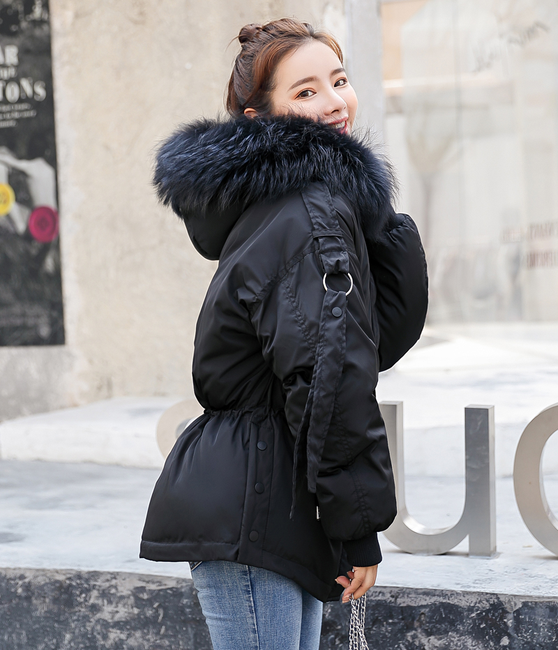 Korean Style 2019 Winter Jacket Women Cotton Padded Hooded With Fur Fe_A3_4