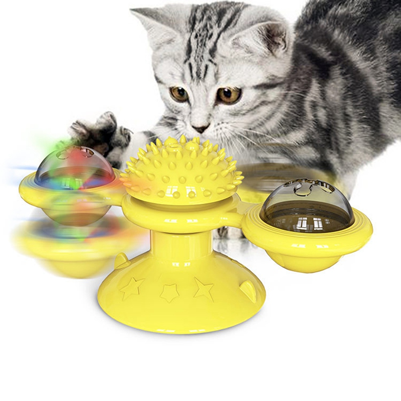 Windmill Cat Toy Cat Brush Self Grooming Brush With Spinning Windmill Cat Brush Suction To Wall Cat Massage Comb Cat Supplies *