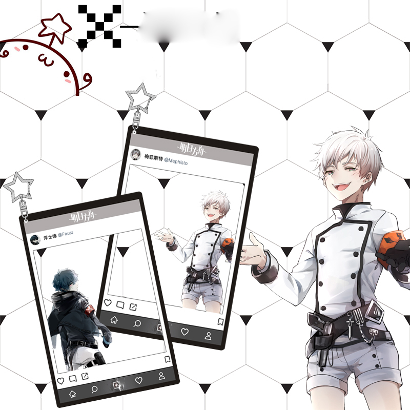 Anime Arknights SliverAsh Ansel Cosplay Card Transparent Decoration Pendant  Acrylic Star Keychain Gift 8x13cm