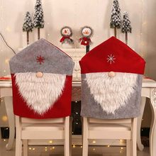 Christmas Chair Cover For Kitchen/Wedding Santa Claus Table Red Hat Decor Dinner Chair Cover Christmas Decorations For Home(China)