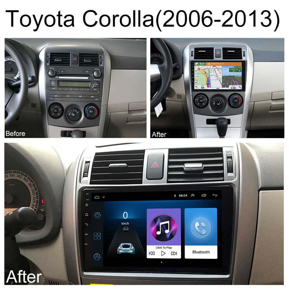 LEHX Car Android 8.1 Radio Multimedia Player Navigation GPS For Toyota Corolla E140/150  2006 2007-2013 Navigation wifi