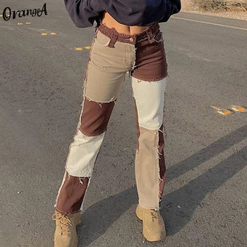 OrangeA autumn women cowboy striped patchwork street casual hip hop high waist loose straight jeans pants mujer fashion straight 1