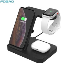 15W Qi Wireless Charger 3 in 1 Charging Dock Station for Samsung S20 S10 Galaxy Buds For iPhone 11 XS XR Apple Watch Airpods Pro