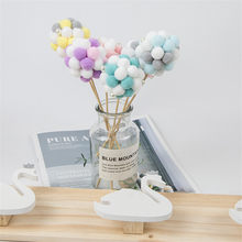 1pcs DIY Handmade Macaron Pompom Colorful Hair Ball Room Handmade Pompon Decoration for Home Without Glass Flower Pot(China)