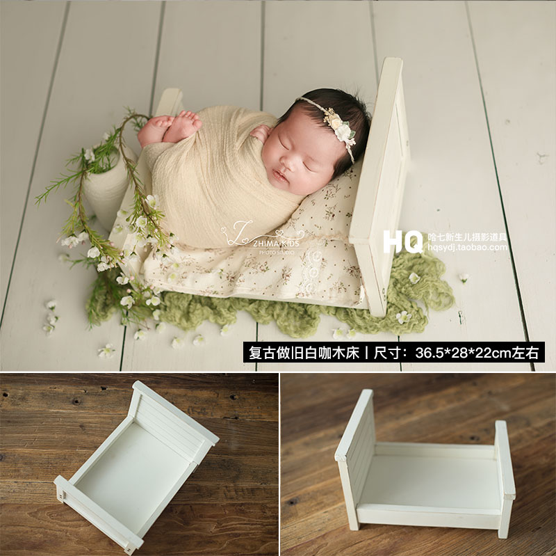 2020 Vintage Newborn Photography Wood Bed Baby Photoshooting Props Classic Infant Photo Studio Wood Crib Basket Accessories