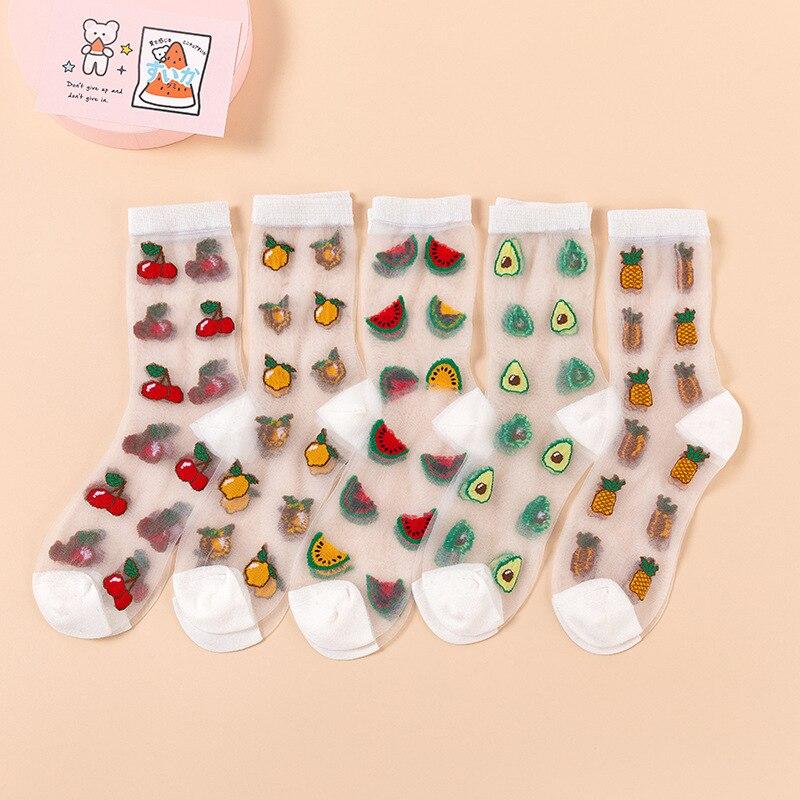 Summer Women's Socks Avocado Pineapple Cherry Watermelon Lemon Kawaii Trasparente Invisible Glass Silk Thin Breathable Long Sock