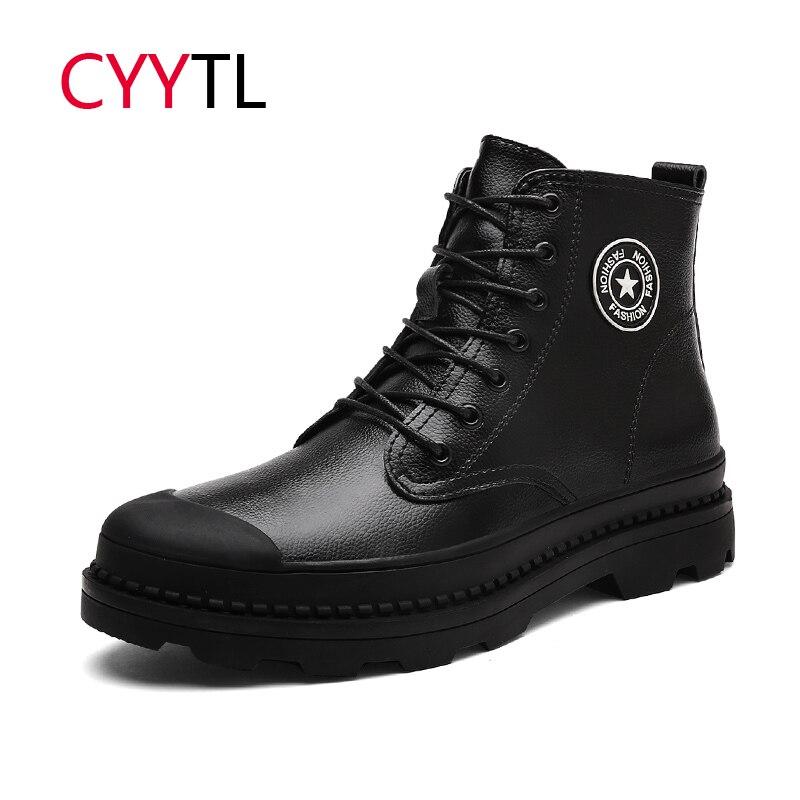CYYTL 2019 Homens Da Moda Inverno Sapatos De Pele De Couro Botas de Neve Tornozelo Casuais Masculinos Tênis Zapatos De Hombre de Segurança Botas Masculina