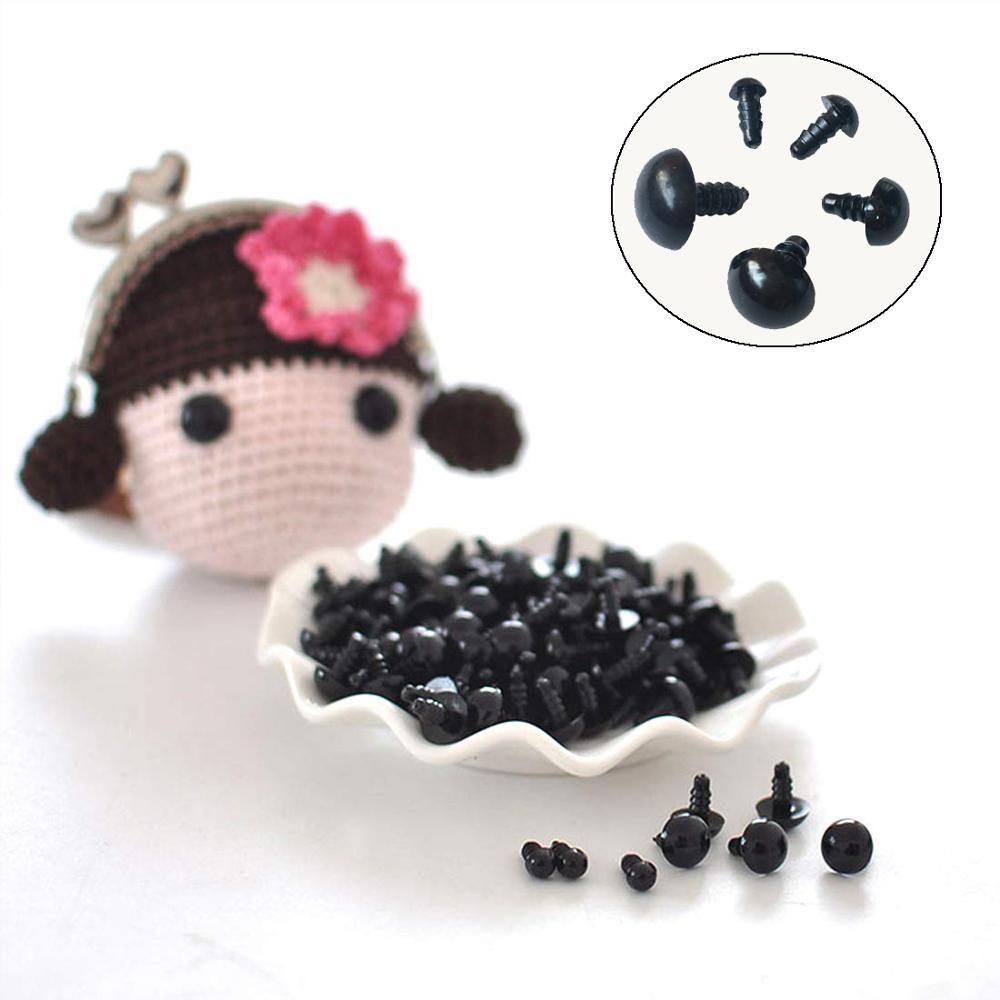 100Pcs/Bag DIY Doll Toy Eyes Black Plastic Safety Eyes Puppets Doll with Washers-3