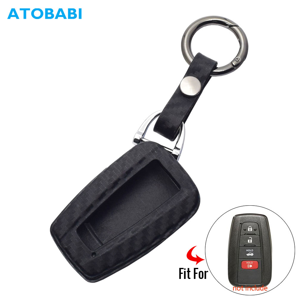 Carbon Silicone Car Key Case For Toyota CHR C-HR Camry 2018 2019 RAV4 Smart Keyless Remote Fob Cover Keychain Protector Keys Bag