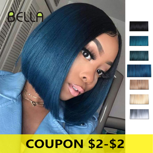 Bob Blue Wig Short Synthetic Lace Front Wig Lolita Bob Straight Hair Dark Roots Ombre Blonde Brown Green With Baby Hair Bella(China)