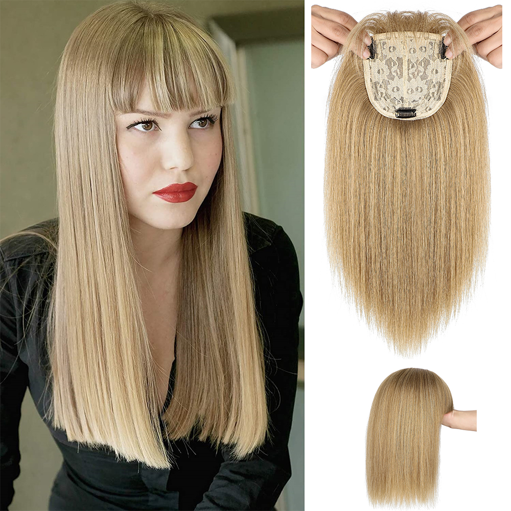 Shangzi Hair Toppers Clip Hair Extensions Synthetic Hair Topper Natural Straight Black Brown 3 Clips With Bangs Fake Hairpiece