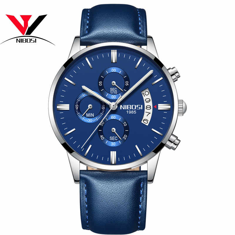 NIBOSI 2019 ファッションカジュアルメンズ腕時計高級レザービジネスクォーツ腕時計メンズミリタリースポーツ腕時計レロジオ Masculino