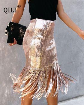 QILI Tassel Sequin Skirt for Women Natural Waist Side Zipper Pencil Black Red Pink Gold Silver Sparkly
