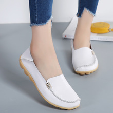 Flats Women Shoes Quality Leather Slip-on Shoes Woman Plus Size Casual Loafers Spring Autumn Soft Comfortable Ladies Sneakers flat shoes women rivet flats fashion slip on casual shoes spring autumn comfortable loafers sneaker